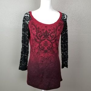Miss Me Merlot Ombre Beaded Lace Sleeves Top L